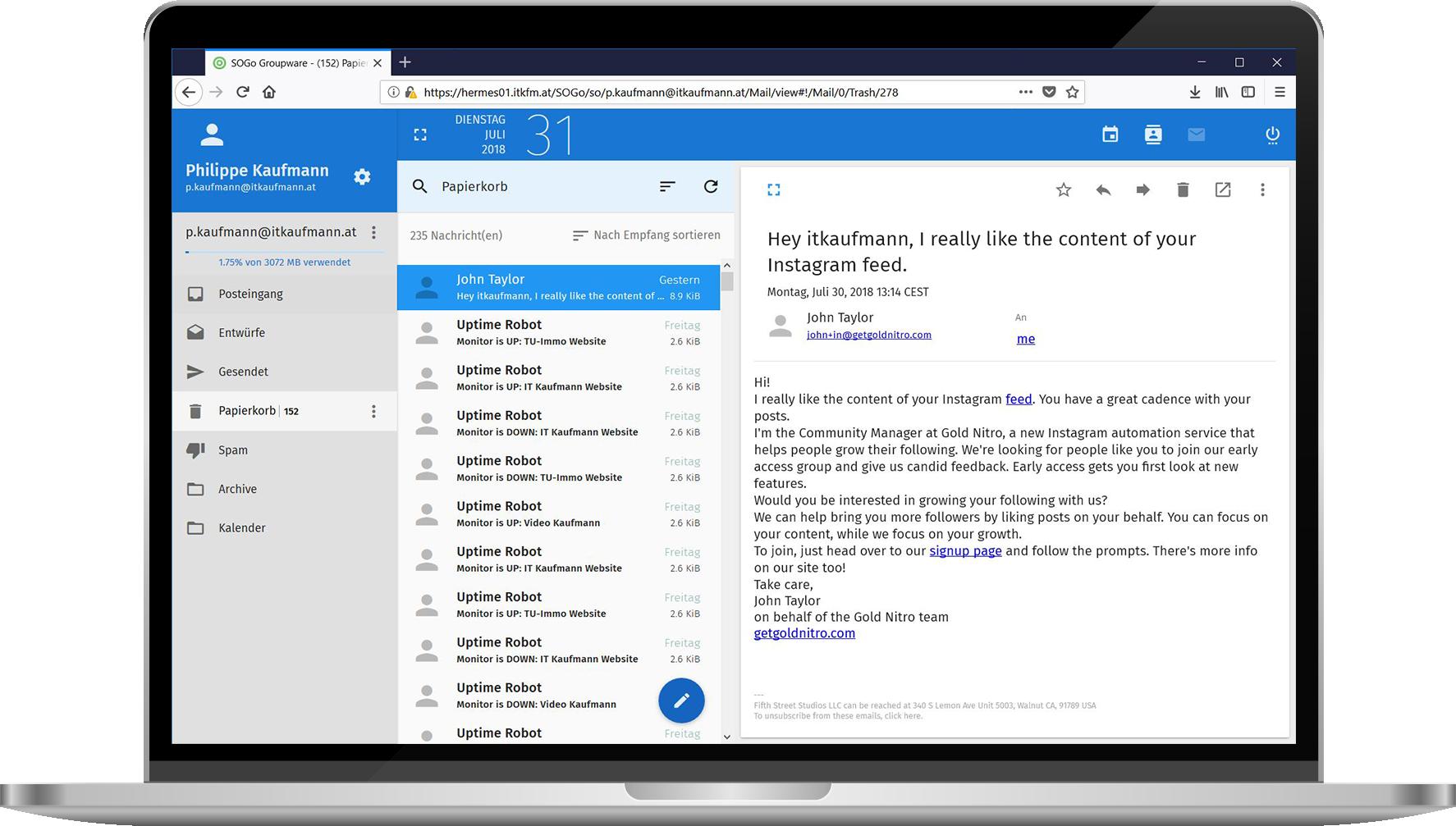 Laptop mit Exchange-E-Mail
