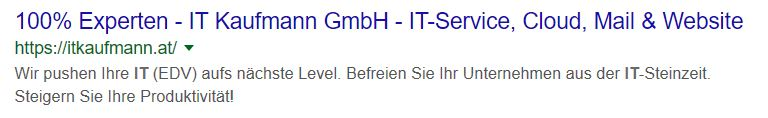 IT Kaufmann - Google Eintrag