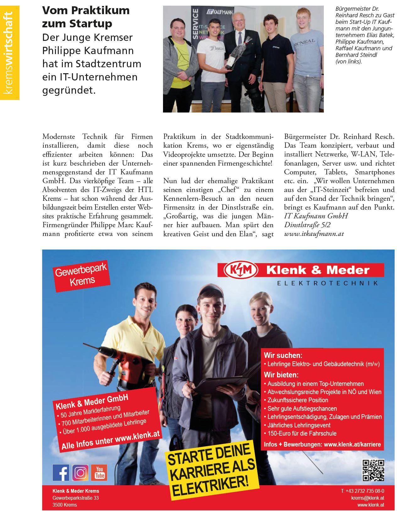 Stadtjournal Krems - Vom Praktikum zum Startup